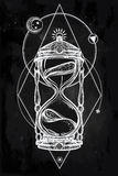 Hand drawn romantic design of a hourglass. Stock Photography