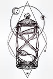 Hand drawn romantic design of a hourglass. Stock Image