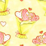 Hand-drawn romantic doodle seamless pattern. Can be used for wedding invitation, card for Valentine`s Day or card about