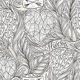 Hand drawn romantic doodle seamless pattern. Decorative hearts, leaves, branches, ribbon, banners, arrows, I love you. Vector illustration, template for your Vector Illustration