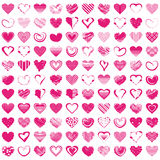 Hand-drawn romantic hearts. Vector illustration. 100 Hand-drawn romantic hearts. Vector illustration for cute design. Pretty symbol for Valentines day card and Stock Photography