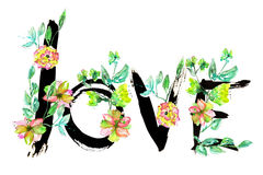 A hand-drawn romantic inscription ''LOVE'' made by the black ink  wreathed with the exotic flowers Royalty Free Stock Images