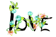 A hand-drawn romantic inscription ''LOVE'' made by the black ink  wreathed with the exotic flowers Stock Photography