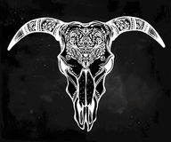 Hand drawn romantic ornate goat skull. Stock Photo