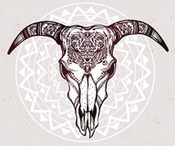 Hand drawn romantic ornate goat skull. Royalty Free Stock Photo