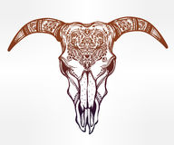 Hand drawn romantic ornate goat skull. Royalty Free Stock Images