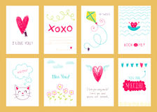 Hand drawn romantic posters Royalty Free Stock Image