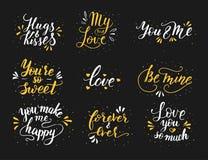Hand drawn romantic quote set. Handwritten with brush pen. Royalty Free Stock Photo
