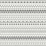 Hand drawn romantic seamless pattern with hearts. Valentine day vintage romantic pattern. Vector illustration. Doodles Stock Photo
