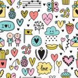 Hand drawn romantic seamless pattern. Lovely symbols. Valentine`s day. Love concept. Wedding background. Sketch Birthday design e. Hand drawn romantic seamless Stock Photo