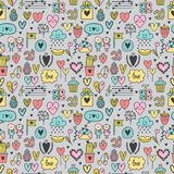 Hand drawn romantic seamless pattern. Lovely symbols. Valentine`s day. Love concept. Wedding background. Sketch Birthday elements. Hand drawn romantic seamless Royalty Free Stock Photos