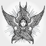 Hand drawn romantic six winged Angel. Royalty Free Stock Image