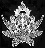 Hand drawn romantic six winged magic Angel girl. Stock Photography
