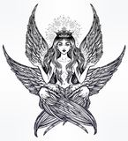 Hand drawn romantic six winged magic Angel girl. Royalty Free Stock Photo