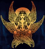 Hand drawn romantic six winged magic Angel girl. Stock Images