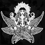 Hand drawn romantic six winged magic Angel girl. Royalty Free Stock Photos