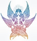 Hand drawn romantic six winged magic Angel girl. Royalty Free Stock Photography