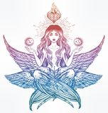 Hand drawn romantic six winged magic Angel girl. Royalty Free Stock Images
