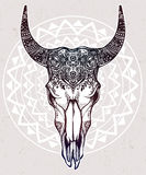 Hand drawn romantic style ornate bull skull. Royalty Free Stock Image