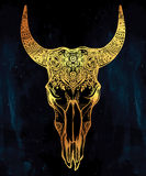 Hand drawn romantic style ornate bull skull. Stock Photo
