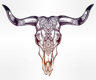 Hand drawn romantic style ornate cow skull. Royalty Free Stock Photography
