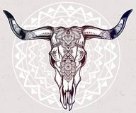 Hand drawn romantic style ornate cow skull. Stock Photography