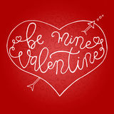 Hand drawn romantic typography poster. Lovely Quote Be Mine Valentine on red background. Royalty Free Stock Photos