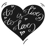 Hand drawn romantic typography poster. Lovely Quote To live is t Stock Images