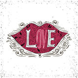 Hand drawn romantic typography poster. Lovely word - love in lips silhouette. Calligraphy lettering  illustration. Royalty Free Stock Photography