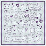Hand drawn romantic vector set Royalty Free Stock Images