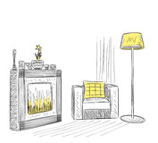 Hand drawn room interior. Reading place sketch with fireplace Stock Images