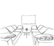 Hand drawn room interior sketch. Table and sofa stock illustration