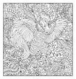 Hand drawn rooster against floral pattern background Stock Images