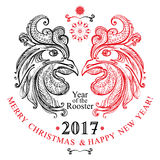 Hand drawn Rooster. Beautiful New Year festive template with two cock heads and inscriptions. Symbol 2017. The Year of Rooster Royalty Free Stock Photography