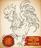 Hand Drawn Rooster with Brushstrokes for Chinese New Year Celebration, Vector Illustration Royalty Free Stock Photography