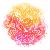 Hand drawn rooster. 2017 Chinese New Year of the Cock. Line art style illustration on watercolor background. Poster with symbol of year. Vector ecard Stock Image