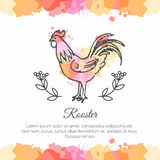 Hand drawn rooster. 2017 Chinese New Year of the Cock. Stock Image