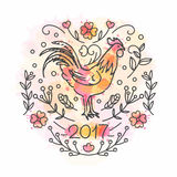 Hand Drawn Rooster. 2017 Chinese New Year of the Cock. Line style illustration on watercolor background. Poster with symbol of year. Vector greeting ecard stock illustration