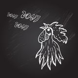 Hand drawn rooster. Hand drawn decorative rooster, symbol of New Year 2017. Can be used for cards, invitations, print, gift wrap, gift paper, scrapbooking royalty free illustration