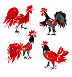 Hand drawn Roosters. Stock Photo