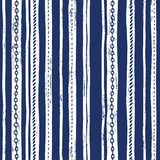 Hand-Drawn Rope and Chains Uneven Vertical Stripes Stripes Vector Seamless Pattern. Monochrome Blue Marine Background. Sea, Ocean Elements royalty free illustration