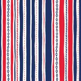 Hand-Drawn Rope and Chains Uneven Vertical Stripes Stripes Vector Seamless Pattern. Red White and Blue Marine Background stock illustration