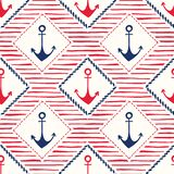 Hand-Drawn Rope Frames with Anchors and Stripes Vector Seamless Pattern. Blue and Red Marine Background vector illustration