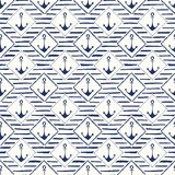 Hand-Drawn Rope Frames with Anchors and Stripes Vector Seamless Pattern. Monochrome Blue Marine Small Scale Background vector illustration