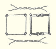 Hand drawn rope frames and borders Royalty Free Stock Photos