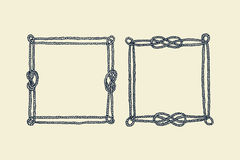 Hand drawn rope frames Stock Photos