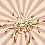 Hand-drawn roses on background with brown stripes Stock Photography
