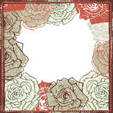 Hand drawn roses frame Royalty Free Stock Image