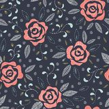 Hand Drawn Roses, Mimicking Folk Embroidery Stitches, on Dark Blue Background Floral Vector Seamless Pattern royalty free illustration