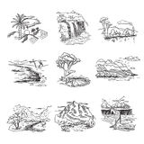 Hand drawn rough draft doodle sketch nature. Landscape illustration with sun hills sea forest waterfall Stock Image